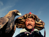 Takhuu Head Eagle Man, Altai Sum, Golden Eagle Festival, Mongolia Photographic Print by Amos Nachoum
