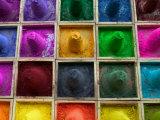 Selling Color Powder at Market, Pushkar, Rajasthan, India Photographic Print by Keren Su