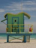Lifeguard Station on 8th Street, South Beach, Miami, Florida, USA Photographic Print by Nancy & Steve Ross