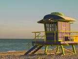 12th Street Lifeguard Station at Sunset, South Beach, Miami, Florida, USA Photographic Print by Nancy & Steve Ross