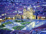 Nighttime Aerial View of the Main Square Featuring the Cathedral of Cusco, Cusco, Peru Fotografisk trykk av Jim Zuckerman