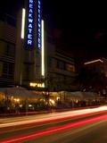 Nighttime Traffic on Ocean Drive, Art Deco Hotels, South Beach, Miami, Florida, USA Photographic Print by Nancy & Steve Ross