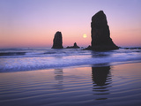 Moonset Between the Needles Rocks in Early Morning Light, Cannon Beach, Oregon, USA Photographic Print by Steve Terrill