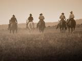 Sepia Effect of Cowboys Riding, Seneca, Oregon, USA Fotoprint van Nancy & Steve Ross