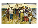 African-American Slaves Returning from the Fields at Twilight on a Sugar Plantation, c.1800 Giclee Print