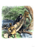 French Missionary and Fur Traders Carrying a Canoe at a Portage in North America Giclee Print