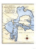 Early Map of Hudson's Strait and Hudson's Bay, 1662, in Arctic Canada Giclee-trykk