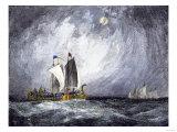 Fleet of Viking Ships at Sea Giclée-Druck