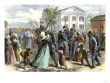 African-American Troops Mustered Out of the Union Army at Little Rock, Arkansas after the Civil War Giclee Print