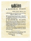 Announcement of Peace Treaty Ending the Revolutionary War, Printed in New York City, March 25, 1783 Giclee-trykk