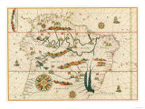 Map of South America from the Spanish Atlas Executed at Messina in 1582 by Joan Martines Giclee-trykk