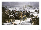 Marshal Ney Bringing the French Rear-Guard Out of Russia with Heavy Losses, c.1812 Giclée-tryk