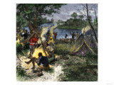 Riverside Camp of Voyageurs, or French Fur Traders Giclee Print