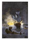 Native Americans Burning a Schooner in the Detroit River at Night during Pontiac's War, c.1763-1764 Gicléedruk