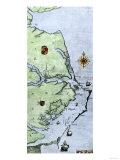 John White's Map of the Virginia and Carolina Coast Where Roanoke Colony Was Located, c.1500 Giclee-trykk