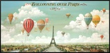 Passeio de balão sobre Paris Impressão em tela emoldurada por Isiah and Benjamin Lane
