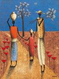 La Famille et l'Arbre Bleu Poster by Michel Rauscher