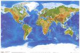Physische Weltkarte - Ansicht aus dem Weltraum Kunstdrucke