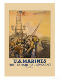 U.S. Marines, First to Fight for Democracy Art by L.a. Shafer