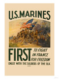 U.S. Marines, First to Fight in France for Freedom Print