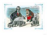 Through the Looking Glass: Walrus, Carpenter and Oysters Láminas por Tenniel, John