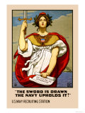 The Sword in Drawn, The Navy Upholds It! Prints by Kenyon Cox