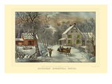 American Homestead Winter Plakater av Currier & Ives,