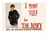 I Want You for the Navy, c.1917 Posters av Howard Chandler Christy