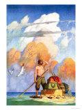 Robinson Crusoe's Raft Affiches par Newell Convers Wyeth