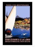 Evian les Bains and le Lac Leman Plakater av Georges Dorival