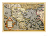 Map of Greece Poster af Abraham Ortelius