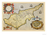 Map of the Island of Cyprus Kunst af Abraham Ortelius