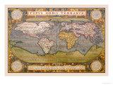 Verdenskort, på engelsk Posters af Abraham Ortelius