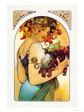 Vrouw met armen vol fruit Posters van Alphonse Mucha