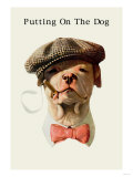 Dog in Hat and Bow Tie Smoking a Cigar Premium Giclee-trykk
