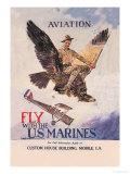 Fly with the U.S. Marines Premium Giclee-trykk av Howard Chandler Christy
