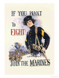 If You Want to Fight! Join the Marines Premium Giclee-trykk av Howard Chandler Christy