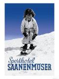 Sporthotel Saanenmoser: Little Girl Skiing Poster by Armin Reiber