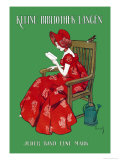 Woman in Red Reading Poster von Ferdinand Von Reznicek