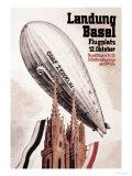 Graf Zeppelin Flies over the Cathedral in Basel Switzerland Plakater af Otto Jacob Plattner