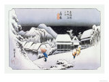 Night Snow at Kambara Posters by Ando Hiroshige