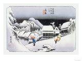 Night Snow at Kambara Posters by Ando Hiroshige