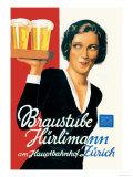 Braustube Hurlimann Hauptbahnhof Premium Giclée-tryk af Hugo Laubi