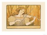 Woman Plays the Violin Prints by Paul Berthon
