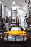 Gele taxi in New York tegen zwart-wit achtergrond, met tekst: NY Taxi no 1 Posters