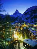 Zermatt and the Matterhorn Mountain in Winter, Zermatt, Swiss Alps, Switzerland, Europe Photographic Print by Gavin Hellier