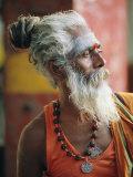 Portrait of a Sadhu, a Holy Man, Jaipur, Rajasthan State, India Fotografisk trykk av Gavin Hellier