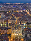 Cityscape, River Saone and Cathedral St. Jean at Night, Lyons (Lyon), Rhone, France, Europe Reproduction photographique par Charles Bowman