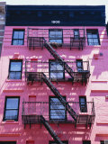 Pink Facade and Stairs in Soho, New York, New York State, USA Fotografie-Druck von I Vanderharst