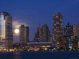 Full Moon Rising Over Lower Manhattan Skyline Across the Hudson River, New York City, New York, USA Photographic Print by Amanda Hall